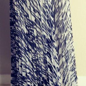 Carmen Marc Valvo Pleated Gauze Maxi Skirt Sz 10